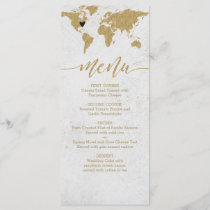 Gold Foil World Map Destination Wedding Menu