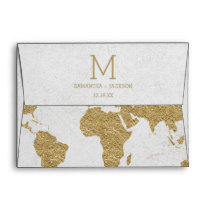 Gold Foil World Map Destination Wedding Monogram Envelope