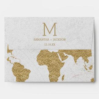 Gold Foil World Map Destination Wedding Monogram Envelope