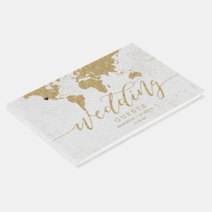 World map guest books zazzle gold foil world map destination wedding monogram guest book gumiabroncs Image collections