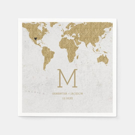 Gold foil world map destination wedding monogram paper napkin gold foil world map destination wedding monogram paper napkin gumiabroncs Choice Image