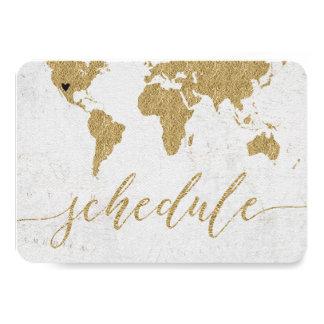 Gold Foil World Map Destination Wedding Schedule Card