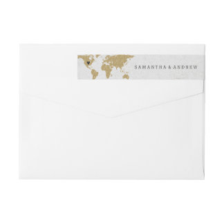 Gold Foil World Map Destination Wedding Wrap Around Label