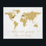 """Gold Foil World Map Miles Can&#39;t Separate Canvas Print<br><div class=""""desc"""">Gold Foil World Map Miles Can&#39;t Separate these two hearts Long Distance Relationship Canvas print with hearts and connecter - they can be moved and positioned wherever needed (for closer or longer connections reduce or enlarge the size of the connecter to make it work) Miles can&#39;t separate these two hearts...</div>"""