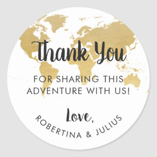 Gold world map stickers zazzle gold foil world map travel theme thank you favor classic round sticker gumiabroncs Choice Image