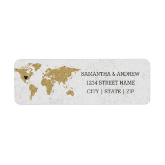 Gold Foil World Map Wedding Return Address Label