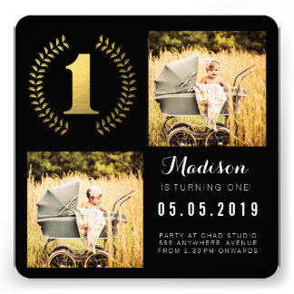 Gold Foil Wreath 1st Birthday Photo Cards