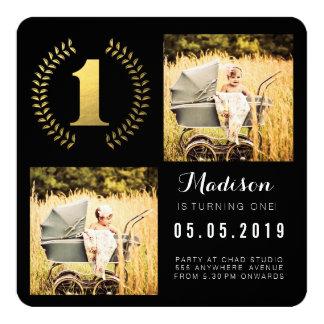 "Gold Foil Wreath 1st Birthday Photo Cards 5.25"" Square Invitation Card"