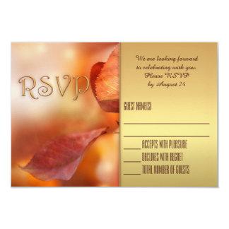 Gold Foliage Fall Wedding RSVP Card