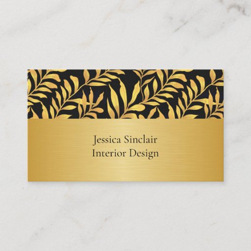 Gold Foliage Interior Design Graphic Artist Beauty Business Card