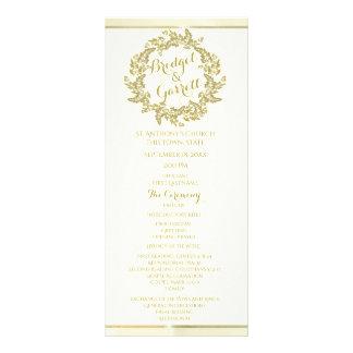 Gold Foliage Wreath Wedding Program