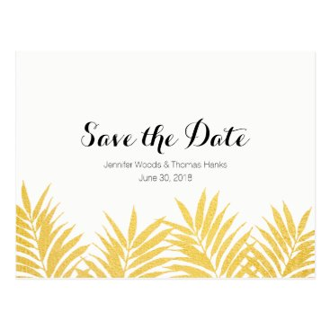 Beach Themed Gold Foliated Clean Simple Save the Date Postcard