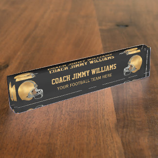 Gold Football Coach Name Plate