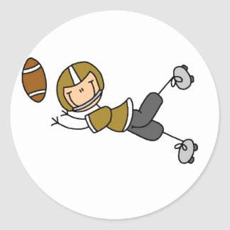 Gold Football Player Tshirts and Gifts Classic Round Sticker