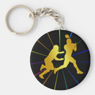 GOLD FOOTBALL PLAYERS KEYCHAIN