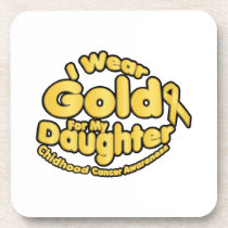 Gold For My Daughter Childhood Cancer Awareness Beverage Coaster