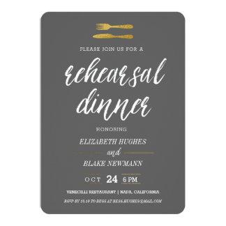 Gold Fork & Knife Rehearsal Dinner Invite - Grey