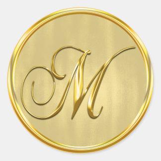 Gold Formal Wedding Monogram M Seal Classic Round Sticker