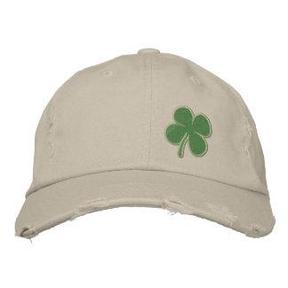 Gold Four Leaf Clover St. Patricks Embroidered Hats