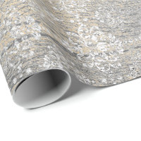 Gold Foxier Damask Silver Gray Wood Shabby Rustic Wrapping Paper