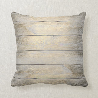 Gold Foxier Floral Glam Metallic Wood Cottage Throw Pillow