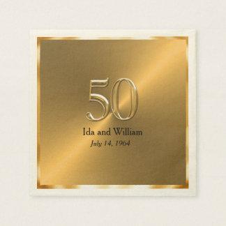 Gold Frame 50th Anniversary Paper Napkin