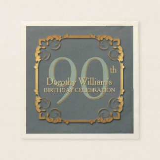 Gold Frame 90th Birthday Celebration Paper napkins