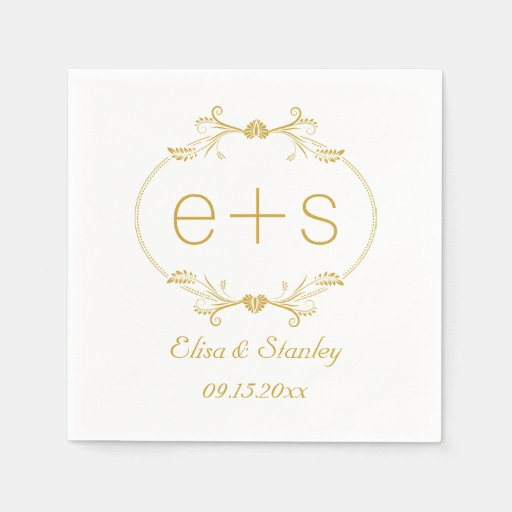 Gold Frame And Initials Elegant Monogram Wedding Napkin