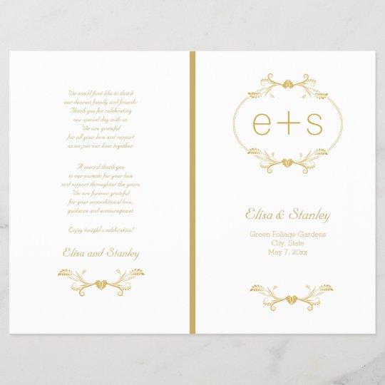 Gold Frame And Initials Folded Wedding Program