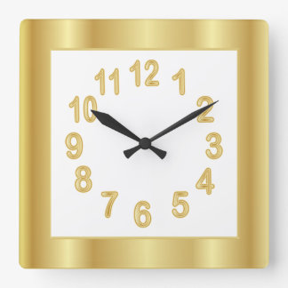 Gold Frame and Numbers | Choose Background Color Square Wall Clock