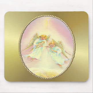 GOLD FRAME ANGELS by SHARON SHARPE Mouse Pads