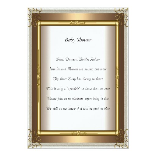 Gold Frame  Baby Shower Party gold 5x7 Paper Invitation Card