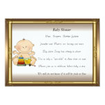 """Gold Frame  Baby Shower Party gold 5"""" X 7"""" Invitation Card"""