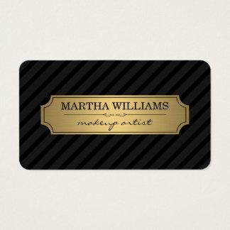 Gold Frame Black Stripes on Black Business Card