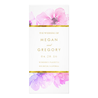 Gold Frame Blue and Purple Floral Wedding Programs