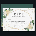 """Gold Frame Green Ivory Floral Wedding RSVP Reply Card<br><div class=""""desc"""">Gold Frame Green Ivory Floral Wedding RSVP Reply Card. (1) For further customization, please click the &quot;customize further&quot; link and use our design tool to modify this template. (2) If you prefer Thicker papers / Matte Finish, you may consider to choose the Matte Paper Type. (3) If you need help...</div>"""
