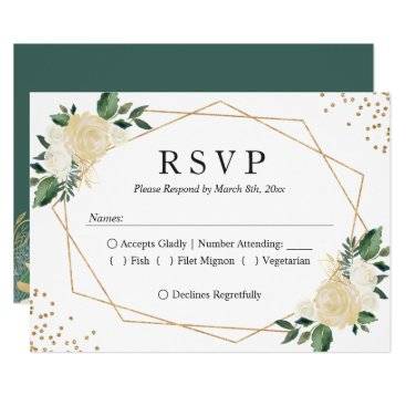 CardHunter Gold Frame Green Ivory Floral Wedding RSVP Reply Card
