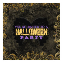 Gold Frame Halloween Invitations