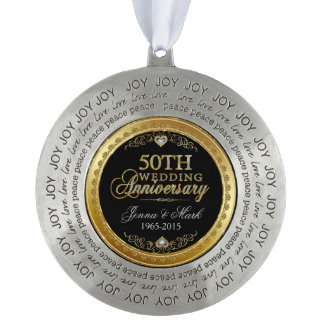 Gold Frame & Hearths 50th Wedding Anniversary Pewter Ornament
