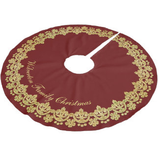 gold frame luxury on red personalized brushed polyester tree skirt - Gold Christmas Tree Skirt