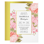 Gold Frame Peonies and Hydrangeas Bridal Shower Card