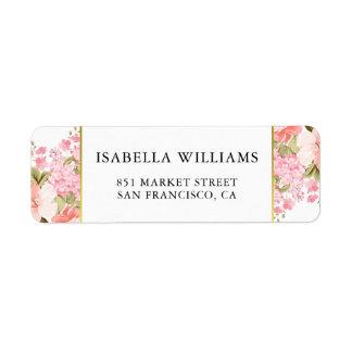 Gold Frame Peonies and Hydrangeas Wedding Address Label