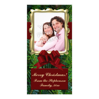 Gold Frame Pine Red Bow Vertical Christmas Photo Photo Card Template