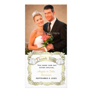 Gold Frame, Roses, Wedding Bells Thank You Picture Card