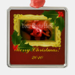 Gold Frame with Holly Berries Custom Ornament