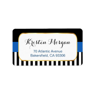 Gold Frame with Navy Blue Black White Stripes Label