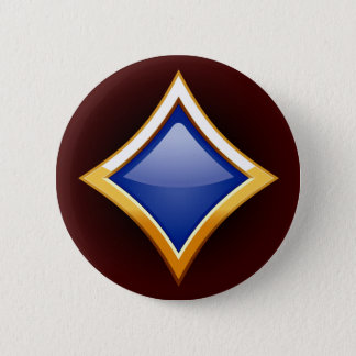 GOLD FRAMED BLUE DIAMOND PINBACK BUTTON