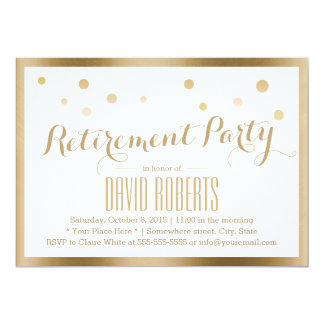 Gold Framed Confetti Dots Retirement Party Card