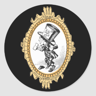 Gold Framed Mad Hatter One Classic Round Sticker