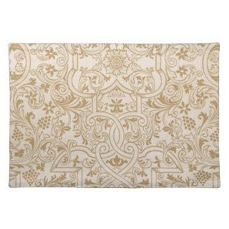 Gold Franco-Oriental Filigree Pattern Fancy Design Placemat
